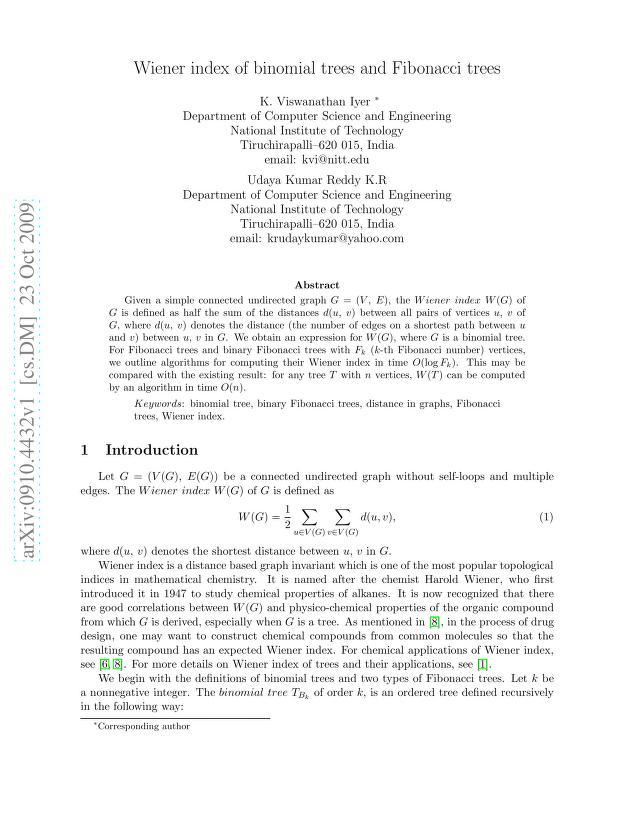 K. Viswanathan Iyer - Wiener index of binomial trees and Fibonacci trees