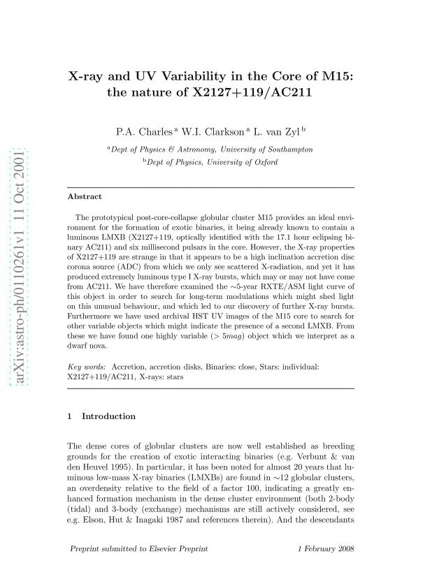 P. A. Charles - X-ray and UV Variability in the Core of M15: the nature of X2127+119/AC211