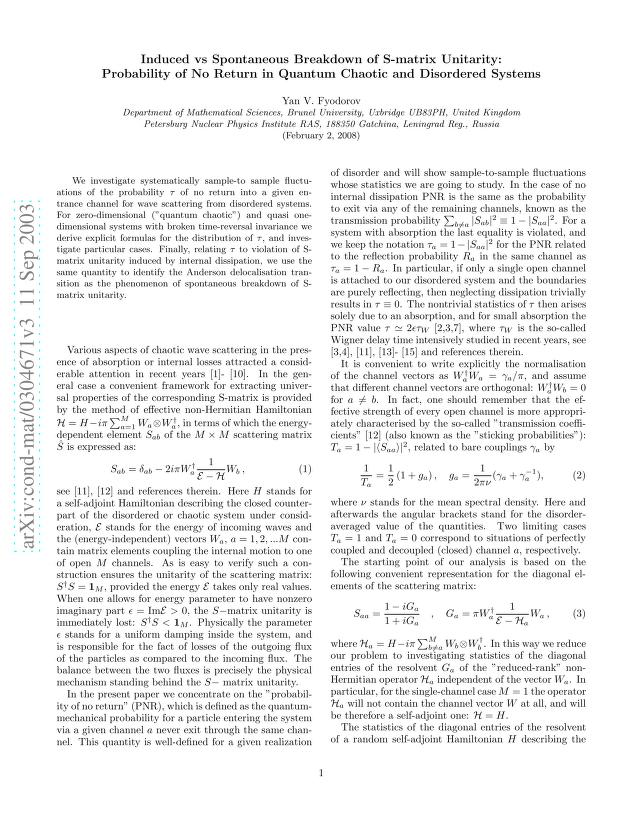 Yan V. Fyodorov - Induced vs Spontaneous Breakdown of S-matrix Unitarity: Probability of No Return in Quantum Chaotic and Disordered Systems