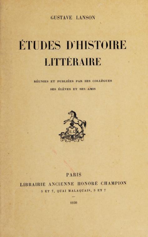Études d'histoire littéraire by Lanson, Gustave